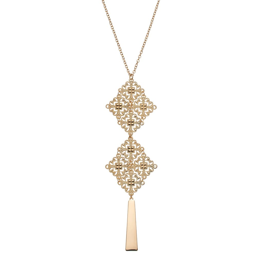 Filigree Bar Pendant Necklace