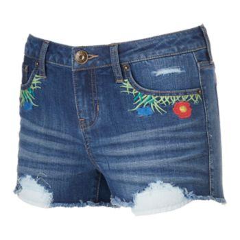 """Juniors' Rampage Sophie """"Flower Child"""" Denim Shortie Shorts"""