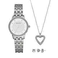 Bulova Women's Crystal Stainless Steel Watch, Heart Pendant Necklace & Earring Set - 96X138