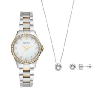 Bulova Women's Crystal Stainless Steel Watch, Pendant Necklace & Earring Set - 98X112