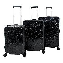 Chariot Travelware Crystal Black 3-Piece Hardside Spinner Luggage Set