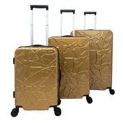 Chariot Travelware Crystal Black 3 pc Hardside Spinner Luggage Set