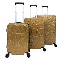 Chariot Travelware Crystal Black 3 pc Hardside Spinner Luggage Set