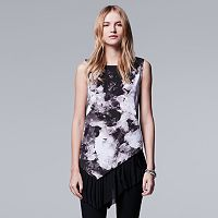 Petite Simply Vera Vera Wang Asymmetrical Pleated Top