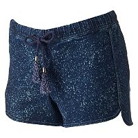 Juniors' Rampage Speckled Denim Shortie Shorts