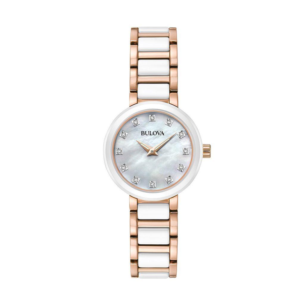 Bulova Women's Diamond Stainless Steel & Ceramic Watch - 98P160