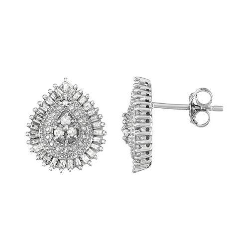 Sterling Silver 1/3 Carat T.W. Diamond Teardrop Stud Earrings