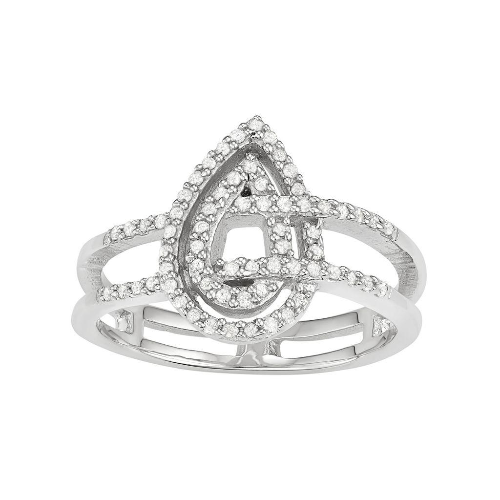 Sterling Silver 1/5 Carat T.W. Diamond Teardrop Ring
