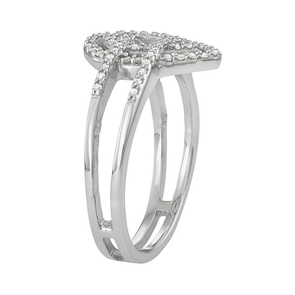 Sterling Silver 1/5 Carat T.W. Diamond Teardrop Ring