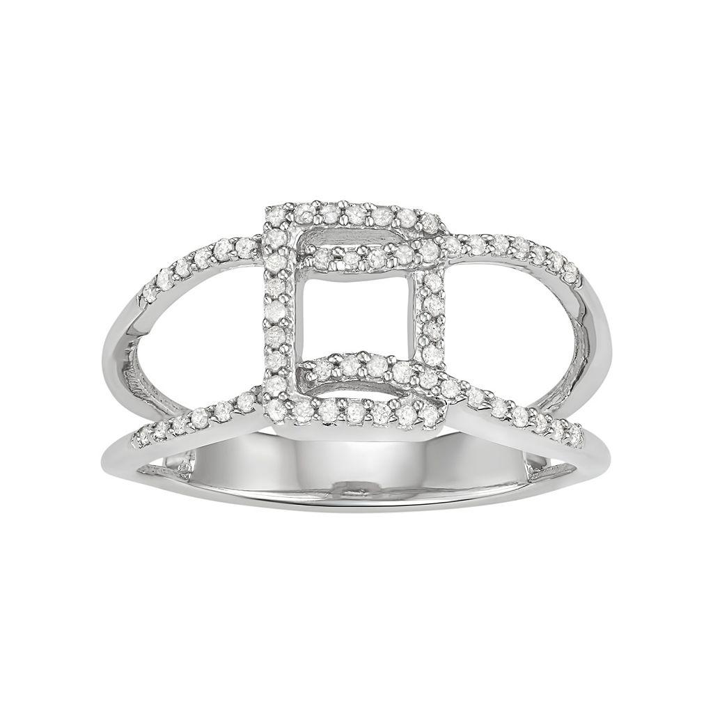 Sterling Silver 1/5 Carat T.W. Diamond Geometric Ring