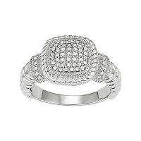 Sterling Silver 1/4 Carat T.W. Diamond Cushion Ring