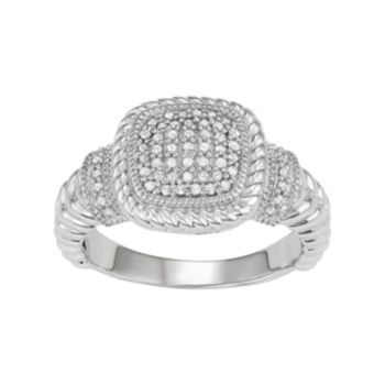 Sterling Silver 1/4 Carat T.W. Diamond Cushion Ring