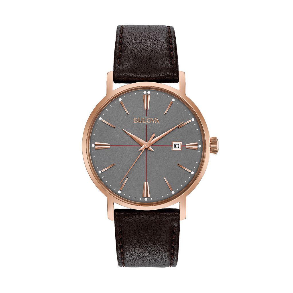 Bulova Men's Classic Leather Watch - 97B154