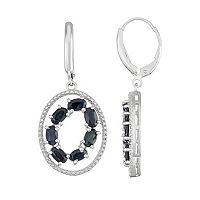 Sterling Silver Black Sapphire Oval Drop Earrings