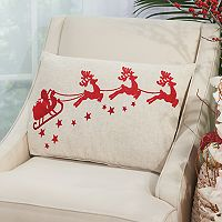 Mina Victory Home for the Holidays Embellished Santa Sleigh Oblong Throw Pillow