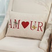 Mina Victory Home for the Holidays ''Amour'' Oblong Throw Pillow