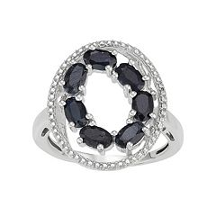 Sterling Silver Black Sapphire Oval Ring