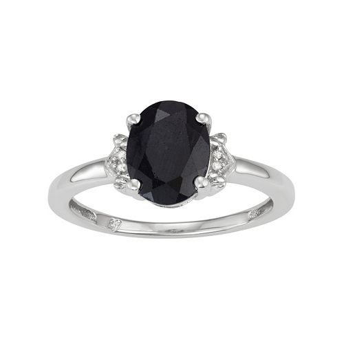 Sterling Silver Black Sapphire & Diamond Accent Oval Ring