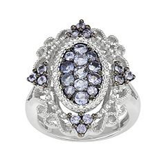 Sterling Silver Tanzanite & Diamond Accent Filigree Ring