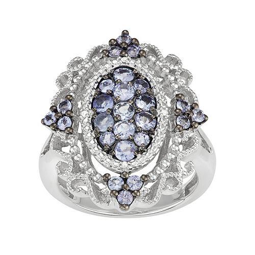 Sterling Silver Tanzanite & Diamond Accent Filigree Ring