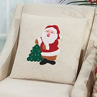 Mina Victory Home for the Holidays Santa Throw Pillow