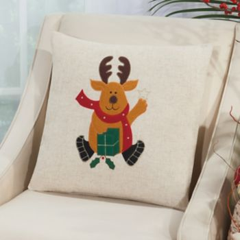 Mina Victory Home for the Holidays Reindeer Throw Pillow