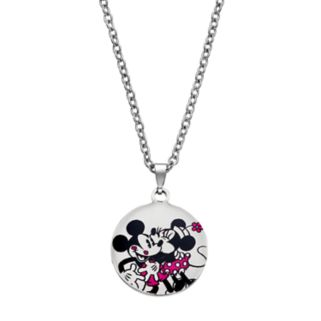 Disney's Mickey & Minnie Mouse Kids' Stainless Steel Heart Pendant Necklace