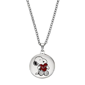 Peanuts Snoopy Kids' Stainless Steel Disc Pendant Necklace