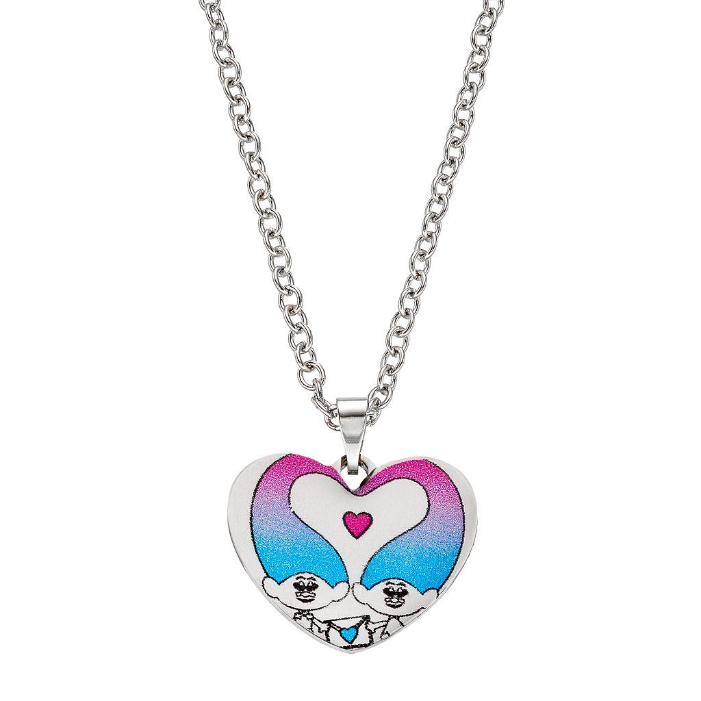 DreamWorks Trolls Kids' Stainless Steel Heart Pendant Necklace
