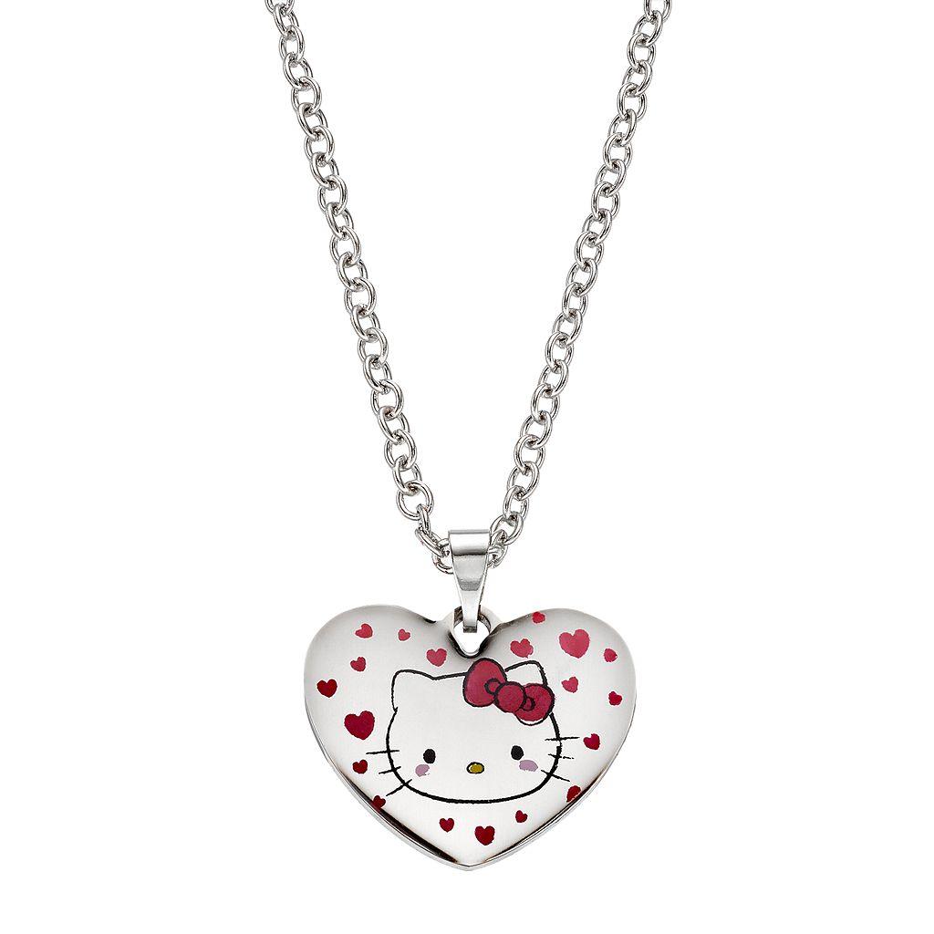 Hello Kitty® Kids' Stainless Steel Heart Pendant Necklace