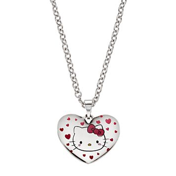 Hello Kitty® Kids' Stainless Steel Heart Pendant Necklace