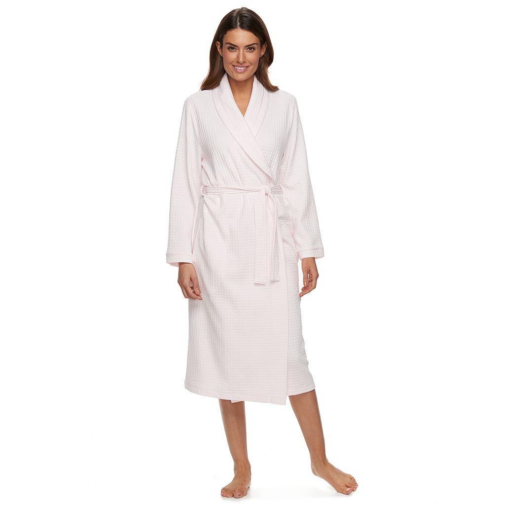 Women's Croft & Barrow® Waffle-Knit Long Kimono Robe