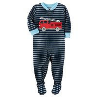 Baby Boy Carter's Fire Engine Striped Footed Pajamas
