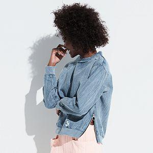 k/lab Ripped Denim Sweatshirt