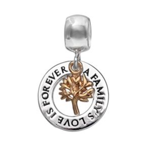 Individuality Beads Two Tone Sterling Silver Family Tree Charm
