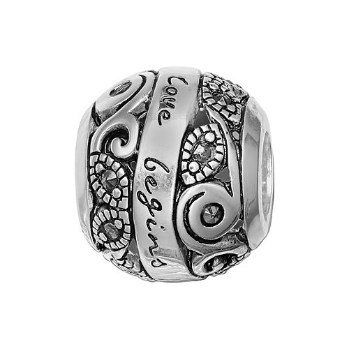 "Individuality Beads Sterling Silver Marcasite ""Family Where Love Begins"" Bead"