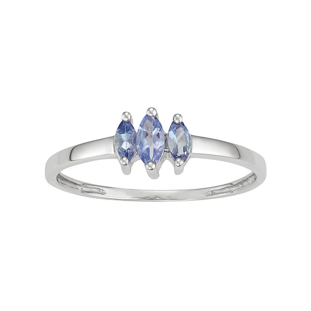 Sterling Silver Tanzanite 3-Stone Ring