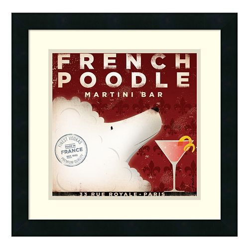 "Amanti Art ""French Poodle Martini Bar"" Print Framed Wall Art"