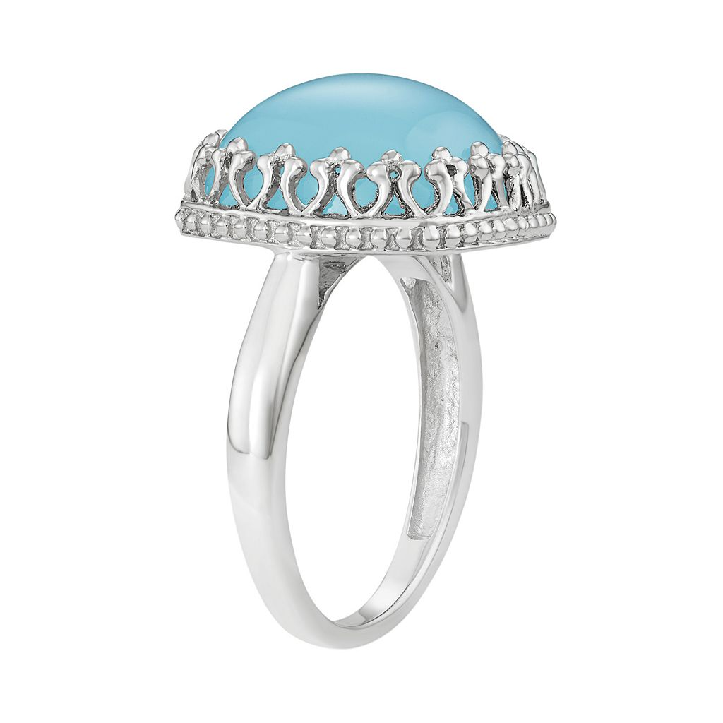 Sterling Silver Blue Chalcedony Cabochon Ring