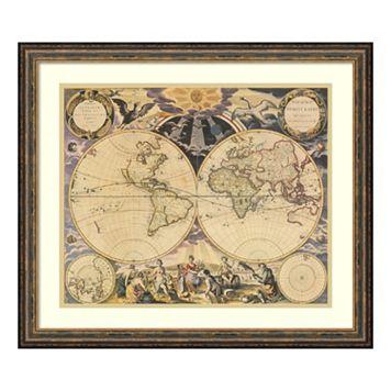Amanti Art New World Map, 1676 Print Framed Wall Art
