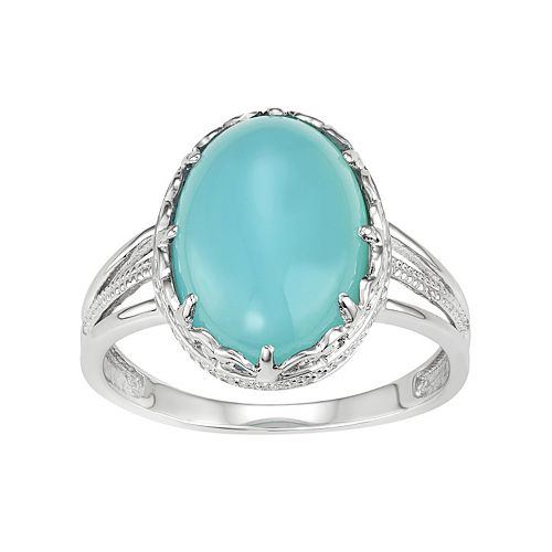 Sterling Silver Blue Chalcedony Oval Cabochon Ring