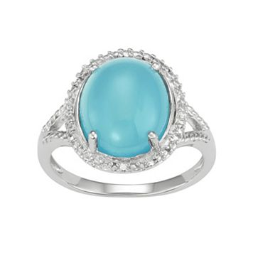 Sterling Silver Blue Chalcedony Oval Cabochon & Diamond Accent Ring