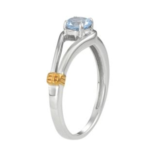 Two Tone Sterling Silver Lab-Created Aquamarine Ring