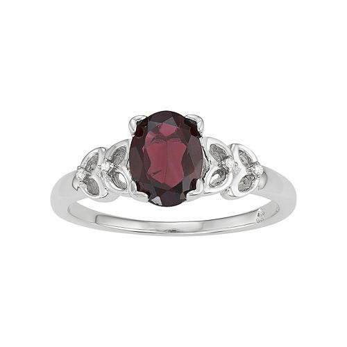 Sterling Silver Garnet & Diamond Accent Ring
