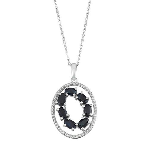 Sterling Silver Black Sapphire Oval Pendant Necklace