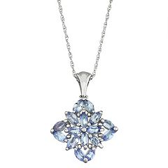 Sterling Silver Tanzanite Floral Pendant Necklace