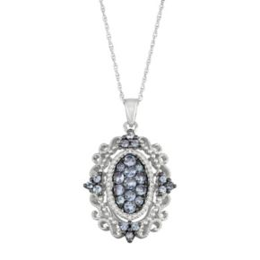 Sterling Silver Tanzanite & Diamond Accent Filigree Pendant Necklace