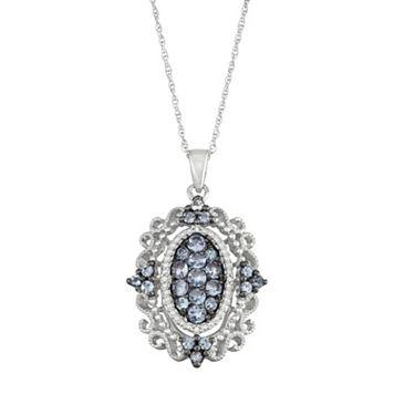 Sterling Silver Tanzanite & Diamond Accent Filigree Pendant Necklace