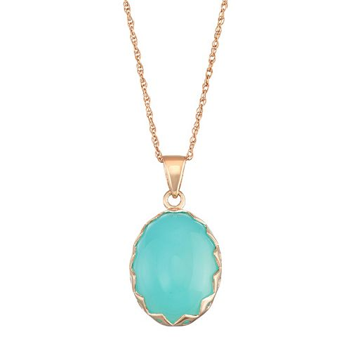 Sterling Silver Blue Chalcedony Cabochon Necklace