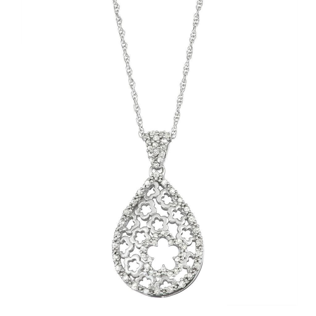 Sterling Silver 1/4 Carat T.W. Diamond Flower Teardrop Pendant